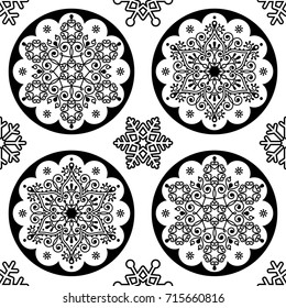 Scandinavian Christmas vector folk pattern - snowflake mandala seamless design, black and white Xmas wallpaper, wrapping paper or textile