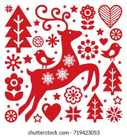 Scandinavian Christmas vector pattern, Nordic folk art, reindeer, birds and flowers decoration or greeting card