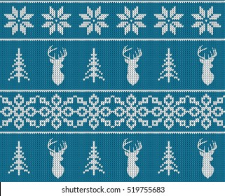 Scandinavian christmas winter seamless knitted pattern. Head deer silhouette or reindeer, snowflake and christmas tree. White images with blue background. Vector illustration.