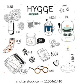 Scandinavian coloring page for adult and children. Cute vector illustration of autumn and winter hygge elements. Isolated on white background. Black and white illustration. Art therapy. Simple design