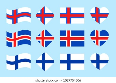 The Scandinavian countries flags set. Vector. Part 2. Iceland, Finland, Faroe Islands national flag collection. Flat isolated icons, traditional colors. Web, sports pages, travel design elements