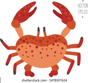 Scandinavian crab vector illustration for children. Cartoon red crab isolated.