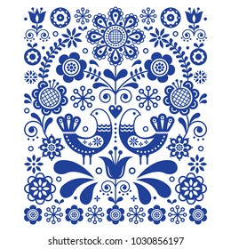 Scandinavian cute folk art vector decoration with birds and flowers, Scandinavian navy blue floral pattern.   Retro, traditional floral ornament inspired by Swedish and Norwegian traditional embroider