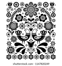 Scandinavian cute folk art vector decoration with birds and flowers, Scandinavian navy black and white floral pattern. Retro, traditional monochrome floral ornament inspired by Swedish art