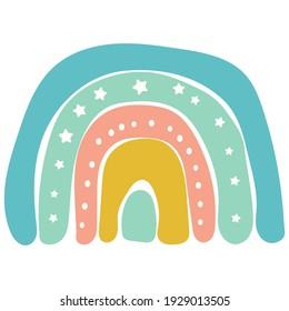Scandinavian cute rainbow isolated on a white background. Cartoon fun rainbow. Childish drawing for nursery design. Bright doodle hand drawn illustration. Scandinavian design.
