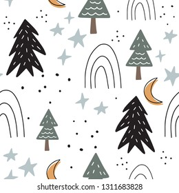Scandinavian design. Hand drawn seamless pattern with forest and moon. Minimalistic background. Vector illustration