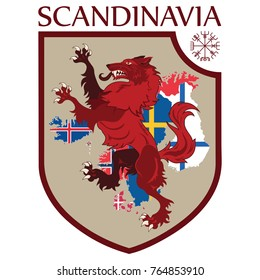 Scandinavian design. Heraldic shield, a wolf on a background map of the Scandinavian Countries - Sweden, Norway, Denmark and Finland, Iceland, Faroe Islands, isolated on white, vector illustration