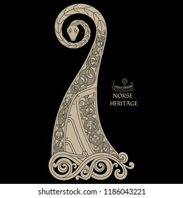 Scandinavian design. The nasal figure of the Viking ship Drakkar in the form of a dragon, and the Scandinavian twisted pattern, isolated on black, vector illustration