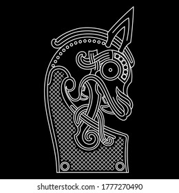 Scandinavian design. The nasal figure of the Viking ship Drakkar in the form of a dragon, isolated on black, vector illustration