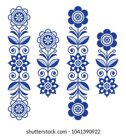 Scandinavian floral design elements, folk art patterns - long stripes.  Retro floral design elements inspired by Swedish and Norwegian traditional embroidery