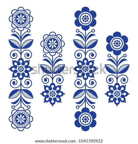 Scandinavian Floral Design Elements Folk Art Stock Vector Royalty