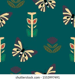 Scandinavian flowers and butterflies in a seamless pattern design, perfect to use on the web or in print