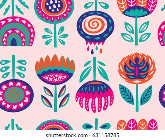 Scandinavian folk art flowers background. Paper cut seamless pattern. Norwegian floral ornament in vector