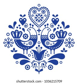 Scandinavian folk art pattern with birds and flowers, Nordic floral design, retro background in navy blue .