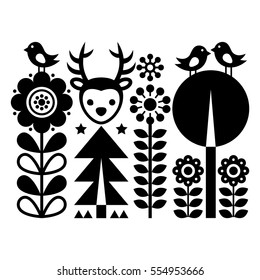 Scandinavian folk art pattern - Finnish inspired, Nordic style with flowers, deer, and birds