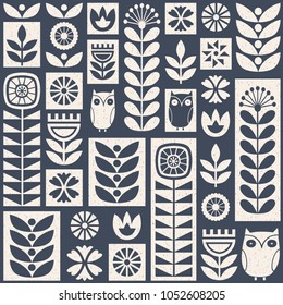 Scandinavian folk art seamless vector pattern with white and blue flowers, plants and owls on worn out texture in minimalist style