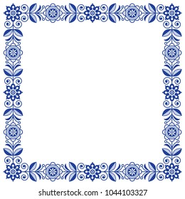 Scandinavian folk art vector frame, cute floral border, square pattern with navy blue flowers - invitation, greetings card.  Floral retro background flowers inspired by Swedish and Norwegian tradition
