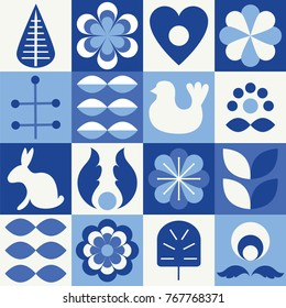 Scandinavian folk style pattern set. Stock vector illustration of finnish nordic swedish norvegian floral elements in blue colors.