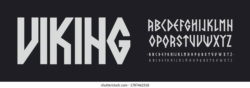 Scandinavian font, Nordic runes style Letters. Viking ethnic typescript. Thin, regular and bold font set, vector modern typography design