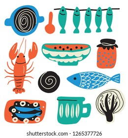 Scandinavian food concept. Hand drawn illustration, made in vector. Crayfish, bowl, fish, cabbage jam cup sandwich