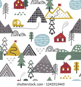 Scandinavian forest vector pattern. Nordic nature landscape concept. Perfect for kids fabric, textile, nursery wallpaper. Hand drawn trees and houses.