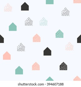 scandinavian geometric pattern vector background. houses scandinavian seamless pattern