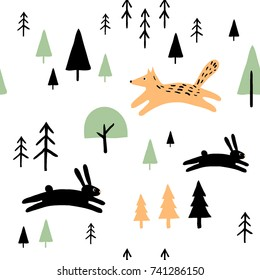Scandinavian geometric seamless pattern with cute animals and trees. Hand drawn cartoon illustration with fox and hare. Forest background for kids textile, wrapping paper, wall art design.