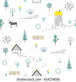 Scandinavian geometric seamless pattern. Simple flat deer, house, trees, tulip and landscape elements. Map texture. Minimalist european houses. Blue colors. Cartoon illustration