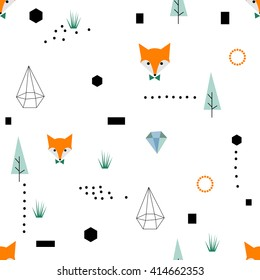 Scandinavian geometric seamless pattern. Simple flat fox and landscape elements. Map texture. Minimalist design. Green colors. Cartoon illustration