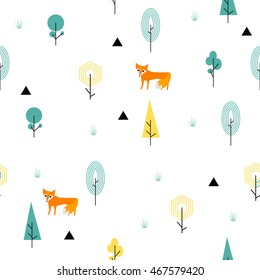 Scandinavian geometric seamless pattern. Simple flat fox and landscape elements. Map texture forest. Minimalist design. Green colors. Cartoon illustration