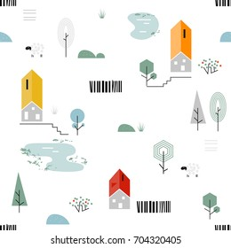 Scandinavian geometric seamless pattern. Simple flat sheep, house, trees, lake and landscape elements. Map texture. Minimalist european houses. Cartoon illustration
