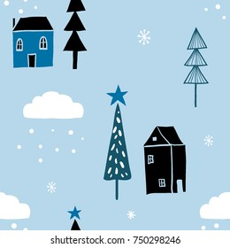 Scandinavian geometric seamless pattern with snow, houses and christmas trees. Stylized city. Cute city landscape. Hand drawn cartoon winter illustration. Winter holidays, merry christmas, new year