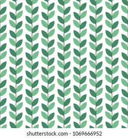 Scandinavian geometric simple seamless leaves pattern. Folk nordic style art. Summer background.