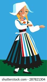 Scandinavian girl in a traditional dress. Vector illustration