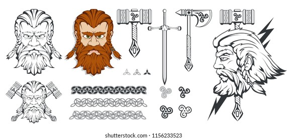 Scandinavian god of thunder and storm. Hand drawing of Thor's Head. The hammer of Thor - mjolnir. Son of Odin. Cartoon bearded man character. Norse mythology. Vector graphics to design