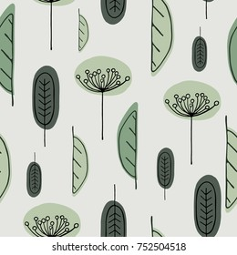 Scandinavian hand drawn seamless pattern with leaves and flowers. Minimalistic nordic style. Vector illustration. Cute botanical elements. Great for textile, decor and printed products.