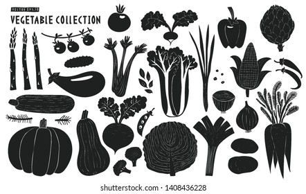 Scandinavian hand drawn vegetables. Monochrome graphic. Fruits background. Linocut style. Healthy organic food. Vector illustration
