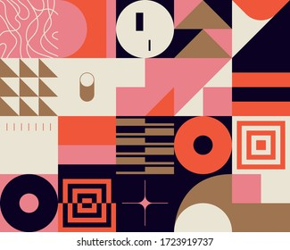 Scandinavian inspired artwork pattern made with simple geometrical forms and cutout colorful shapes. Abstract vector composition, useful for backgrounds, poster design, fabric prints, invitation.
