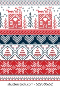 Scandinavian,  inspired by Norwegian Christmas and festive winter seamless pattern in cross stitch with gingerbread house, Christmas tree, heart, reindeer, sleigh, presents in red , blue