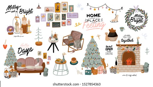 Scandinavian interior with December home decorations - wreath, cat, tree, gift, candles, table. Cozy Winter holiday season. Cute illustration and Christmas typography in Hygge style. Vector. Isolated.