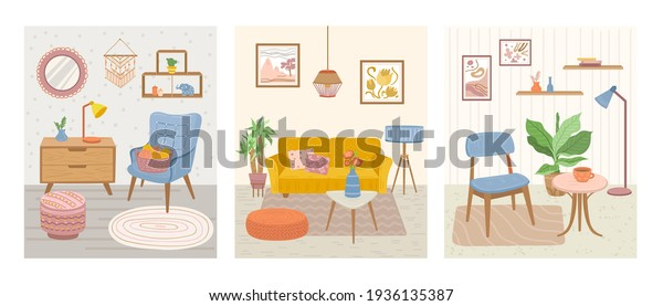 Scandinavian interior. Hygge card, december scandi image. Cozy room poster, cute furniture candle table. Trendy relax house exact vector banner