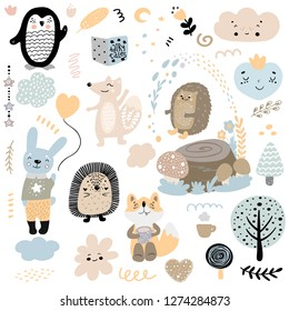 Scandinavian kids doodles elements pattern set of cute color wild animal and characters: penguin, hedgehog, fox, hare, rabbit, flower, mushroom, tree, stump, heart, cloud hand drawn.