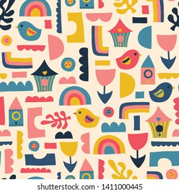 Scandinavian kids pattern birds rainbows and shapes. Seamless vector background.