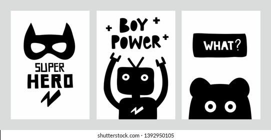 Scandinavian monochrome posters with doodle characters and lettering. Cool decor in baby boy room in trendy nordic style. Vector illustration.