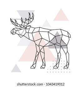 Scandinavian moose, side view. Geometric vector illustration.