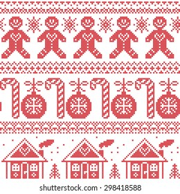 Scandinavian Nordic seamless pattern with gingerbread man, Xmas candy candy cane, gingerbread house, Xmas trees, heart, baubles, stars, snowflakes in cross stitch
