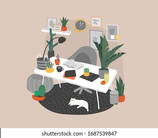 Scandinavian or nordic style interior. Hand drawing style home office. Cozy interior with home plants. Cartoon vector