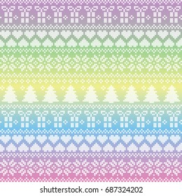 Scandinavian,  Nordic style winter stitching Christmas seamless pattern  including snowflakes, hearts, present, snow, star, Christmas tree and  decorative ornaments on unicorn style colors background