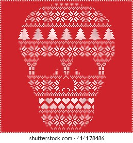 scandinavian nordic winter stitching knitting christmas pattern in in sugar skull including snowflakes hearts xmas - Christmas Sugar Skull
