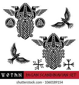 Scandinavian pagan set - God Odin, two ravens and Norse runes. Illustration of Norse mythology, isolated on white, vector illustration